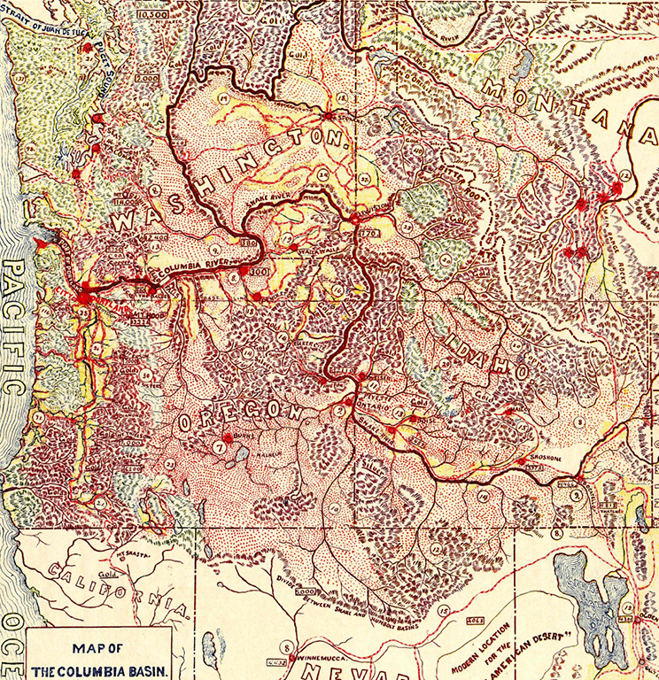 Map of the Columbia Basin discovered in 1805 by the Lewis and Clark Expedition: Showing comparative areas now in cultivation, can be cultivated, timbered land, mineral, railroads in operation, elevation above sea leave ft., annual rain fall in inches 1905
