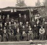 Pioneers at Chapoeg celebrate the 65th anniversary of the Territorial Government, May 2, 1905. Photo by Ernest V. Jensen.