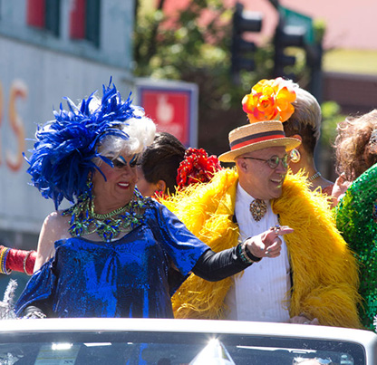 Darcelle (left) greets onlookers in the 2018 Portland Pride Parade. Beth Nakamura, The Oregonian/OregonLive.