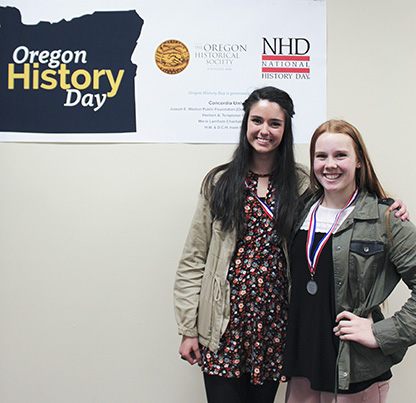 Sutherlin High School students Sarah Vellines and Faith Stehr, Oregon History Day 2017 winners for Senior Group Website
