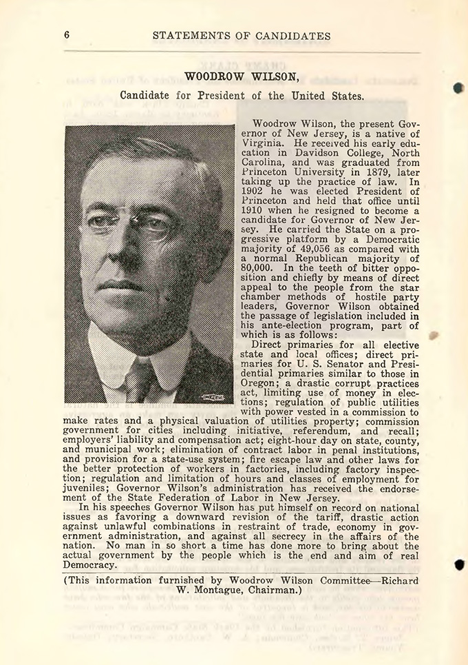 Woodrow Wilson's 1912 candidate statement, Oregon primary election. State Library of Oregon, Digital Collections