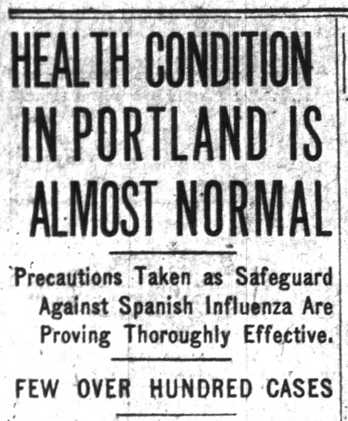 """Health Condition in Portland is Almost Normal,"" Oregon Daily Journal, October 20, 1918, p. 3"