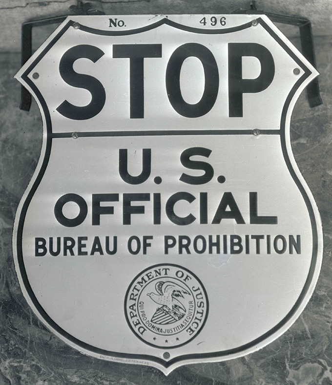 U.S. Bureau of Prohibition sign. OHS Research Library, Oregon Journal Collection, Org. Lot 1368, box 371, 0371N3271