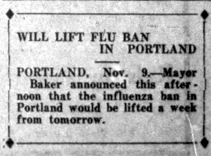 """Will Lift Flu Ban in Portland,"" Albany Daily Democrat, November 9, 1918, p.1"