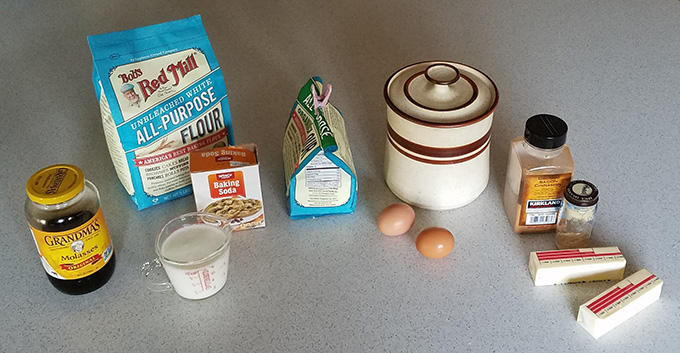Color photograph showing gingerbread ingredients.