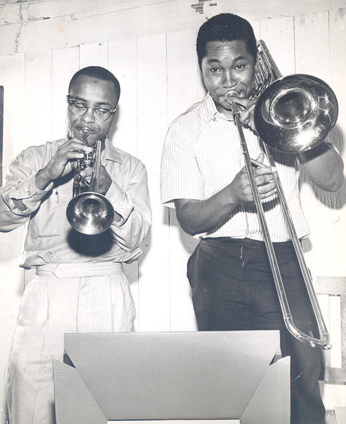 Bobby Bradford and Cleve Williams, 1965. OHS Research Library, CN 25942