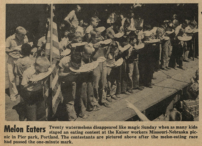 Watermelon eating contest held at the Missouri-Nebraska state picnic. Bo's'n's Whistle, July 28, 1944, Oregon Shipyard Edition, OHS Research Library, BosunsWhistle_OSE19440728_0425