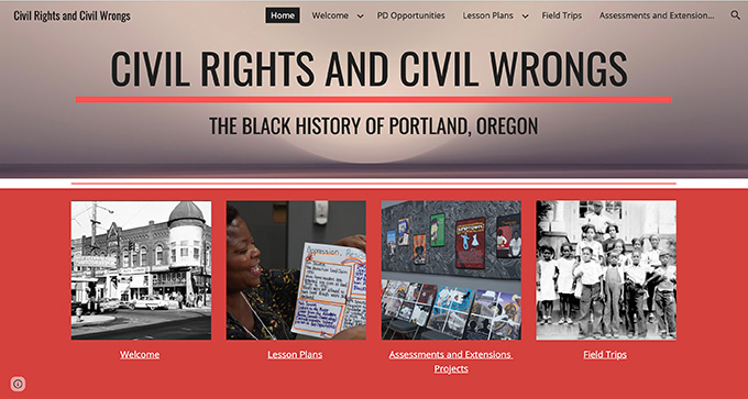"""Civil Rights and Civil Wrongs: The Black History of Portland, Oregon,"" by educators Lisa Colombo and Sarah Anderson in collaboration with community members."