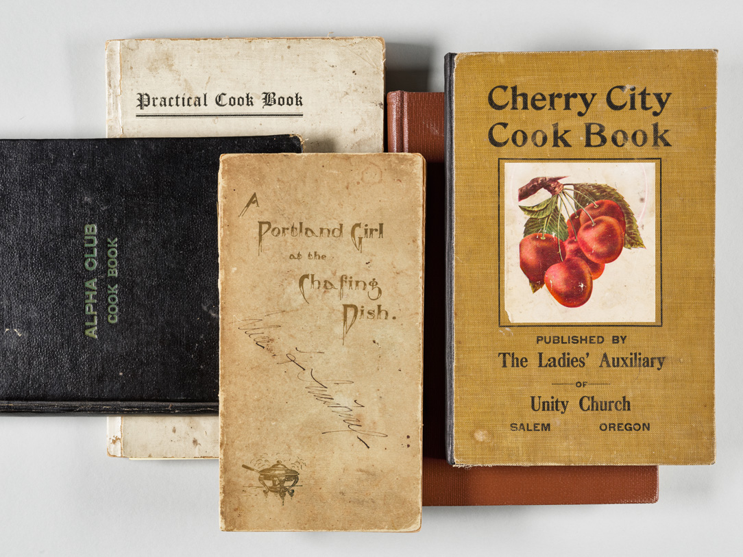 Cookbooks published between 1885 and 1912, held in OHS Research Library collections.