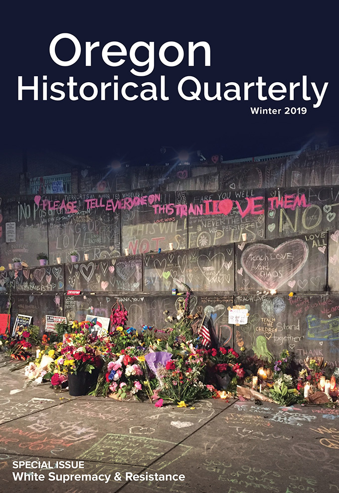 "Cover, Winter 2019 ""White Supremacy & Resistance"" special issue of the Oregon Historical Quarterly."