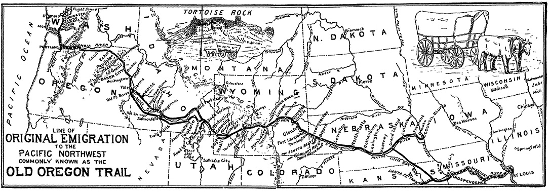 "1907 Map: ""Line of Original Emigration to the Pacific Northwest Commonly Known as the Old Oregon Trail."" Published in in Ezra Meeker's 1907, ""The Ox Team or the Old Oregon Trail, 1852–1906."""