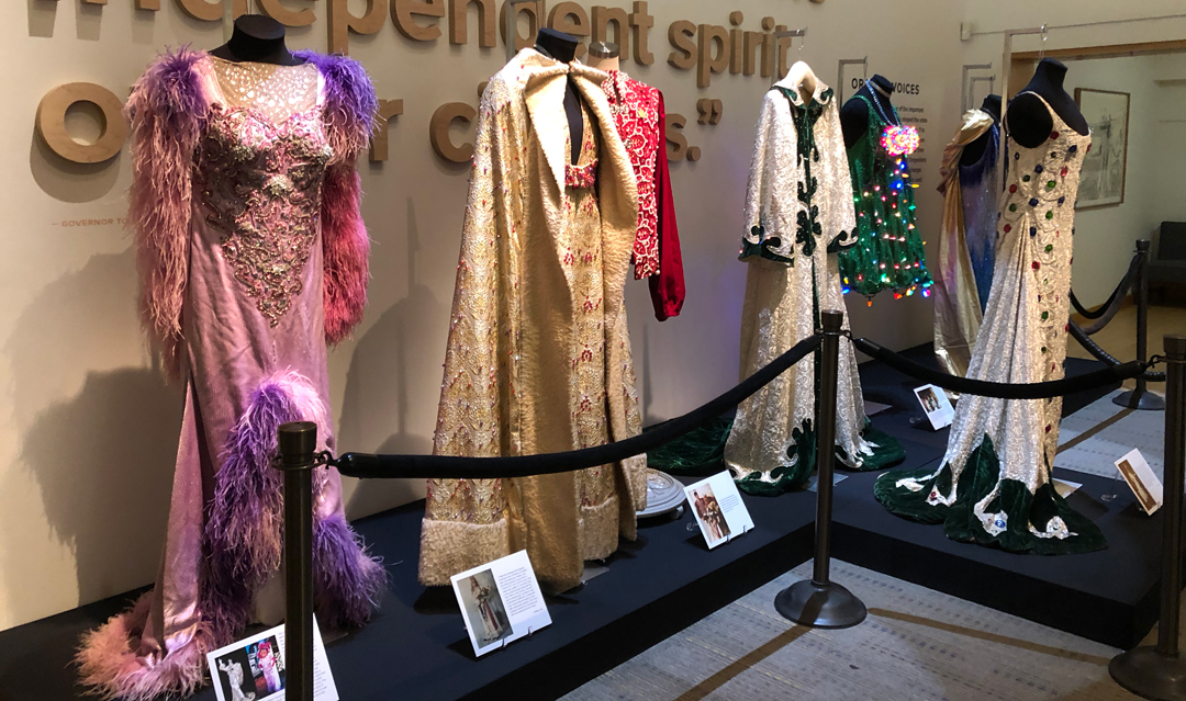 "OHS's exhibit, ""Many Shades of Being Darcelle: 52 Years of Fashion, 1967–2019."" Photo courtesy of Franc Gigante."