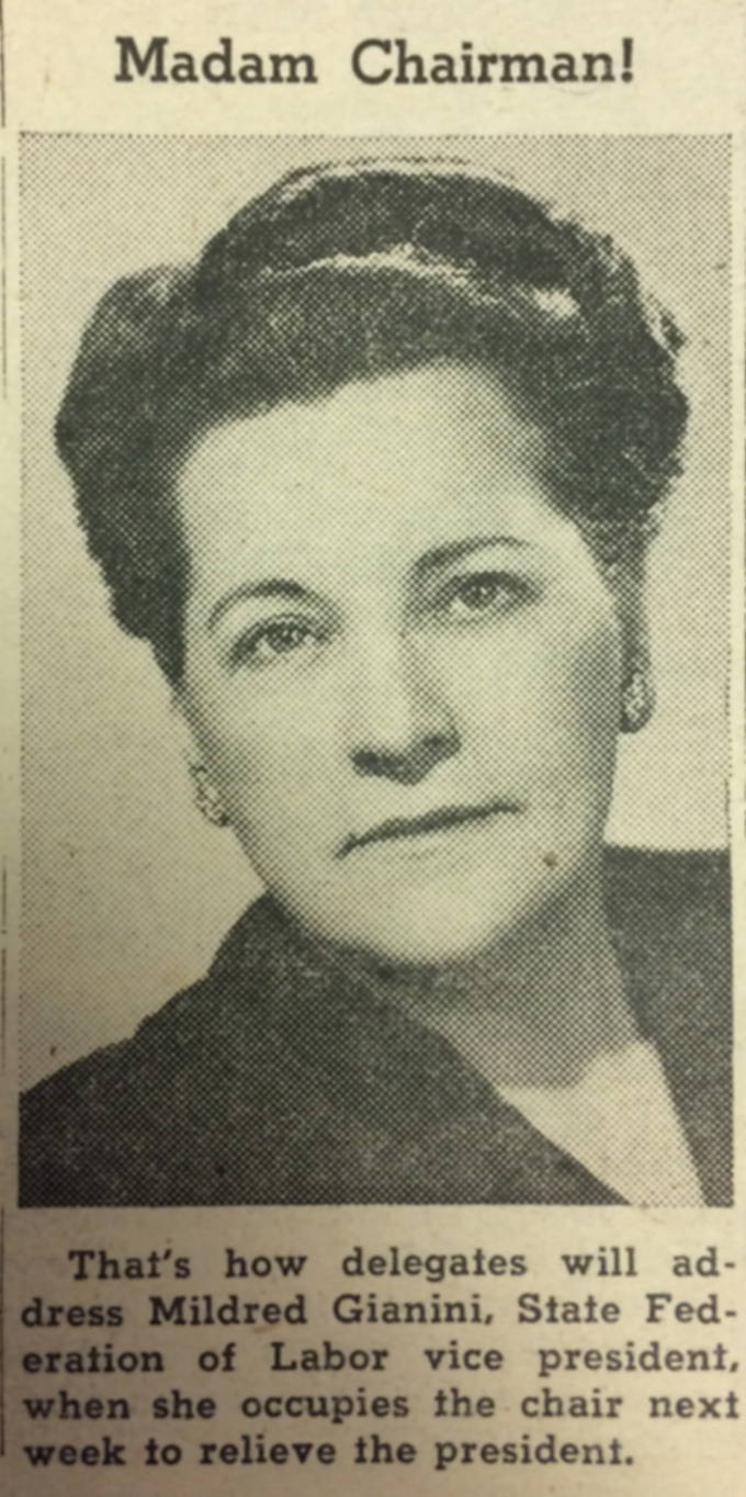 Mildred Gianini, June 9, 1950. NW Labor Press