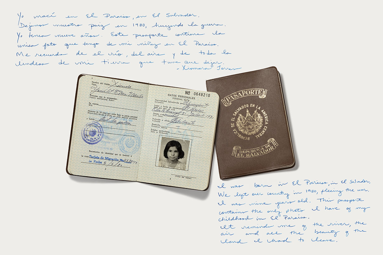 "Photograph of Judge Xiomara Torres's passport on display in ""DREAMs Deferred"" at the Oregon Historical Society."