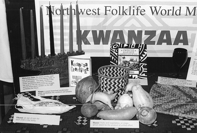 Kwanzaa celebration items, 1993, photograph by Steve Meltzer. OHS Research Library, Skanner photograph collection, Org. Lot 1286, box 33, folder 14.