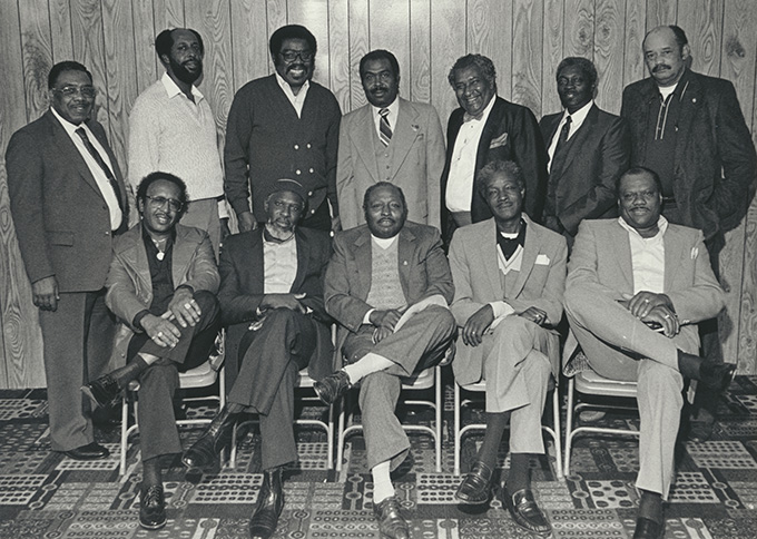 Twelve Black workers hired by ILWU Local 8 meet in 1986 for the twenty-second anniversary of their hire. Photograph courtesy of the ILWU Archives, photograph by Richard J. Brown