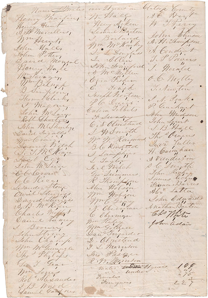 One page from 1849 Oregon census, OHS Research Library, Mss 0001, b1f3.