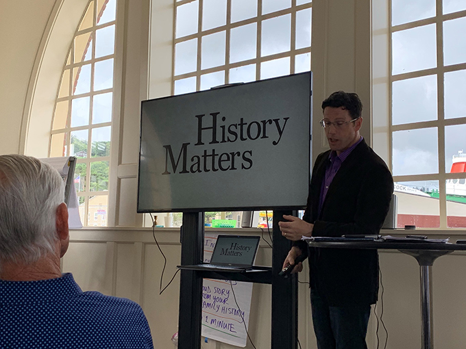Dr. Christopher McKnight Nichols leads a discussion at the July 2019 OHS Board of Trustees annual meeting in Astoria, Oregon.