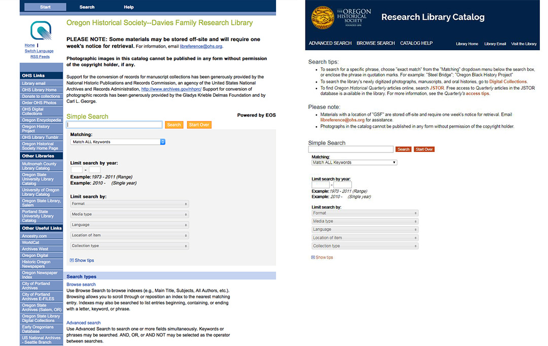 Before and after screenshots of the OHS Research Library online catalog.
