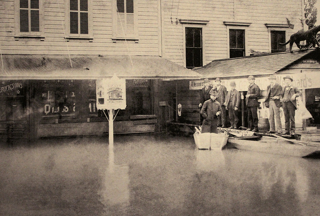 Erickson serving beer on a boat, 1894. OrHi92658