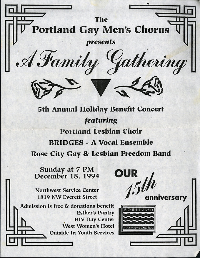 Portland Gay Men's Chorus flyer, 1994, OHS Research Library, GLAPN collection, Mss 2988-1
