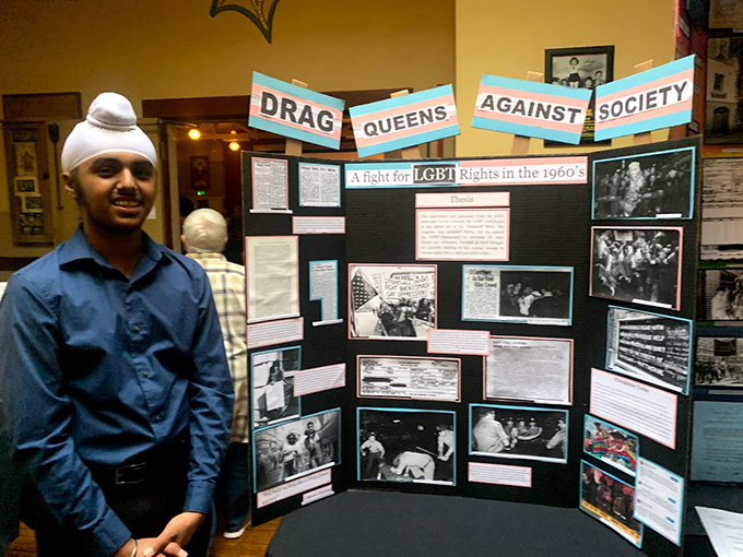 Rajvir Singh with his individual National History Day® exhibit in 2019.