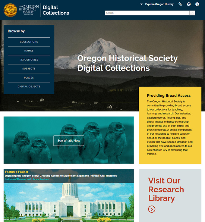 Oregon Historical Society Digital Collections site