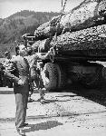 Thomas Dewey inspects a logging operation at Long-Bell Lumber Company on the Umpqua River near Scottsburg, Oregon, on May 9, 1948. OHS Research Library, 0024P462