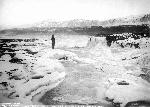 Celilo Falls in winter, Columbia River, January 1907, Kiser Photo Co. photographs, Org. Lot. 140, OrHi 67579, bb000192