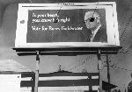 This billboard in Portland, Oregon, promotes candidate Barry Goldwater during the presidential campaign of 1964. OHS Research Library, 0313P010