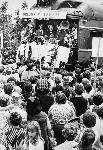 "Robert Kennedy campaigns down the Willamette Valley from the rear platform of the ""Beaver State Special,"" on May 20, 1968. OHS Research Library, 0358P023"