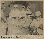 Permanente doctors and nurses working in a surgery at the Vancouver hospital. Bo's'n's Whstle, July 6, 1945, OHS Research Library, BosunsWhistle_SIE19450706_0527