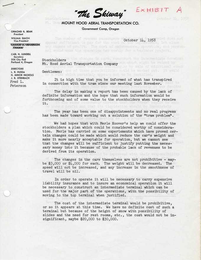 Letter to stockholders of Mt. Hood Aerial Transportation Co., OHS Research Library, Coll 146, Mt. Hood Aerial Transportation Co. records, 1947-1966