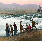Fishing at Celilo Falls, colorized. OHS Research Library, OrHi 77844