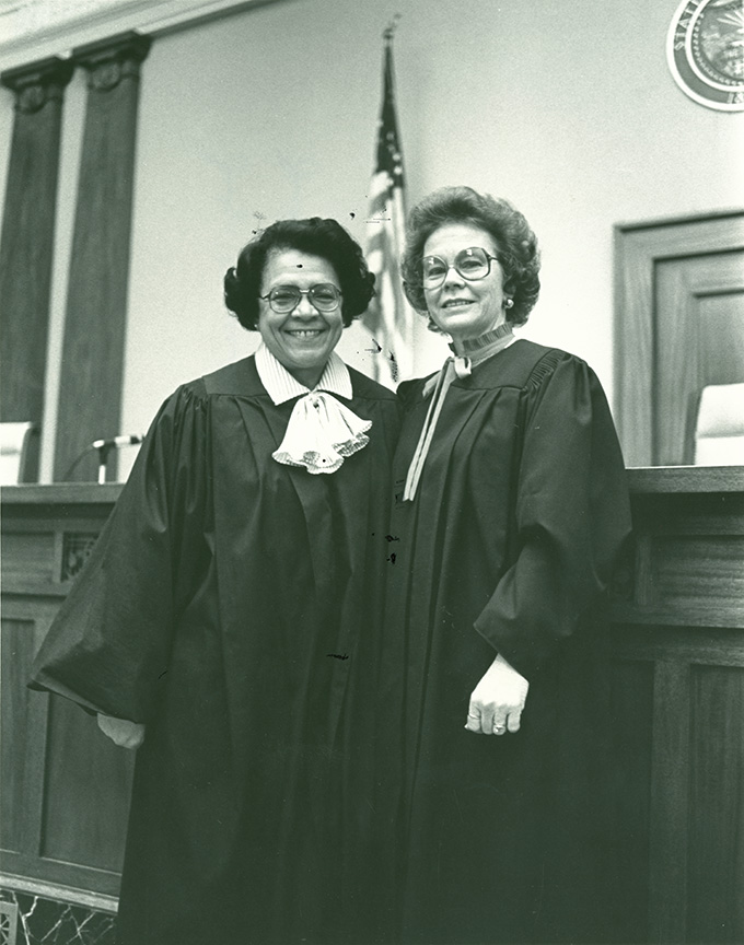 Mercedes Deiz and Betty Roberts, February 8, 1982. OHS Research Library, photo file 909, bb009654