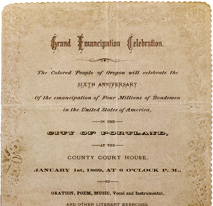 "Embossed invitation the ""Grand Emancipation Celebration,"" scheduled for January 1, 1869. OHS Research Library, OrHi 81181"