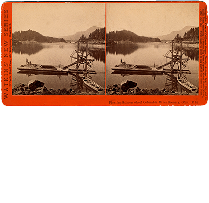 Stereoscopic photo of fishing at Bradford Island, Columbia River Gorge, 1882. Photo by Carleton E. Watkins, OHS Research Library, ba021024