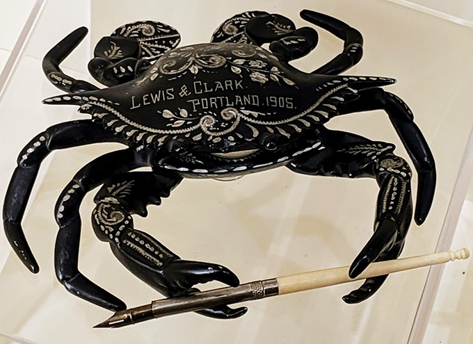 "Celluloid crab pen holder from Pittock Mansion's exhibit, ""Portland's World Fair."" Photograph courtesy of Andrew VanDerZanden"