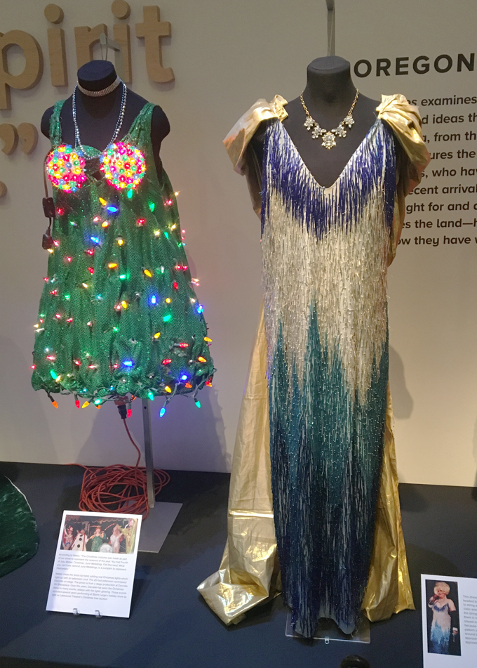 Darcelle's Christmas dress and hand-beaded blue dress. Photograph courtesy of Franc Gigante.