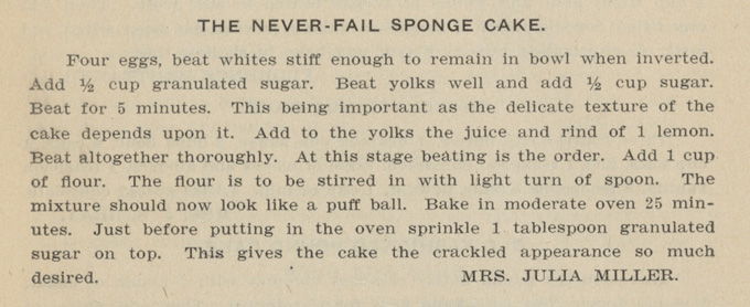 "Never-Fail Sponge Cake in ""Alpha Club Cook Book,"" 1904. OHS Research Library, 641.5 A4568c"