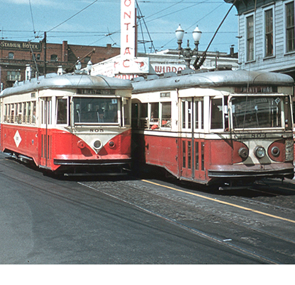 Cars 804 and 805 passing on W. Burnside near 18th Ave. on the 23rd Ave. Line, 1940s. Courtesy Richard Thompson