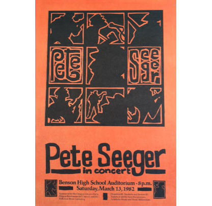 Pete Seeger concert poster, 1982. Sarah Cook Poster Collection, Coll 421