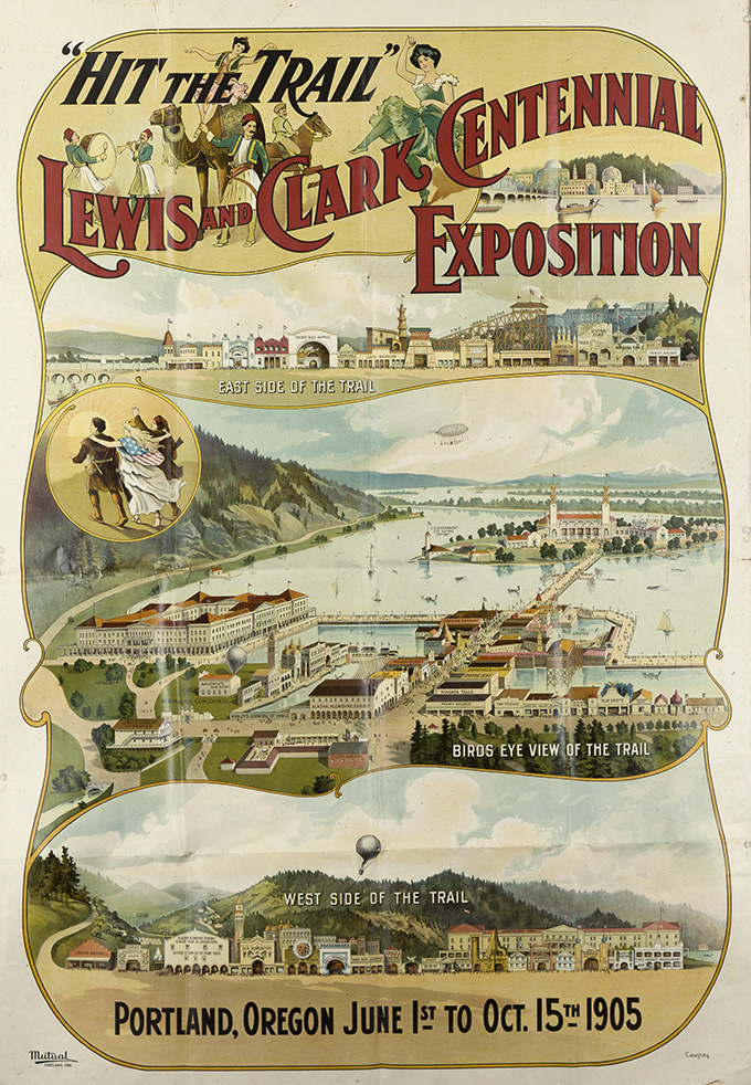 "Lewis & Clark Exposition ""Hit the Trail"" poster. OHS Research Library, bb010454"