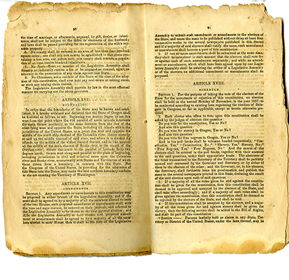 Article XVIII, from the State Constitution Section of Oregon State Constitution outlining slavery and exclusion laws, from the 1857 document distributed to Oregonians. Belknap 295
