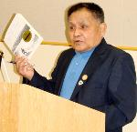 George Aguilar, Sr., on the Oregon Book Awards speaking tour, April 2007, Newport Library. Courtesy of Sheryl Eldridge, Newport Public Library