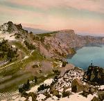 Watchman and Llao Rock formations at Crater Lake. OHS Research Library