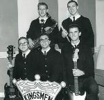Kingsmen, 1963. Sundholm (left, kneeling), Gallucci, Mitchell, Easton (standing, left), and Abbott. Oregonian collection, Gene Rossi