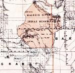 Detail from an 1879 General Land Office map shows the Malheur Indian Reservation. C. Roesser, General Land Office, Department of the Interior. OHS Map 132