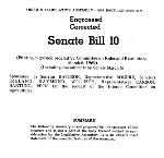 Senate Bill 10 p.1 First page of Senate Bill 10. Oreg. State Archives
