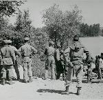 Black troops from Fort Lewis work on flood control in Vanport, 1948. 021630